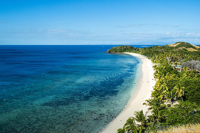 View of North Point Beach  and Resort from the lookout on Mana Islands in the Mamanucas, Fiji