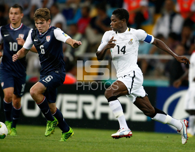 Ghana's Lawrence Lartey (R) and USA's William Trapp (L) during their FIFA U-20 World Cup Turkey 2013 Group Stage Group A soccer match Ghana betwen USA at the Kadir Has stadium in Kayseri on June 27, 2013. Photo by Aykut AKICI/TURKPIX