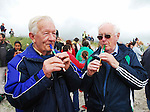Anthony Gielty and Michael O' Malley from Dooagh Achill pictured on saturday at the Tin Whistle world record attempt. The ensemble estimated to be around 1050 played the tune 'Fainne Geal an Lae' on Achill's longest beach and was part of the Scoil Acla celebrations that took place over the past week..Pic Conor McKeown
