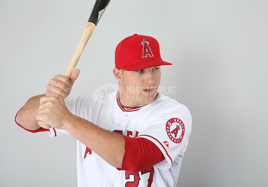 Feb. 21, 2113; Tempe, AZ, USA: Los Angeles Angels outfielder Mike Trout poses for a portrait during photo day at Tempe Diablo Stadium. Mandatory Credit: Mark J. Rebilas-