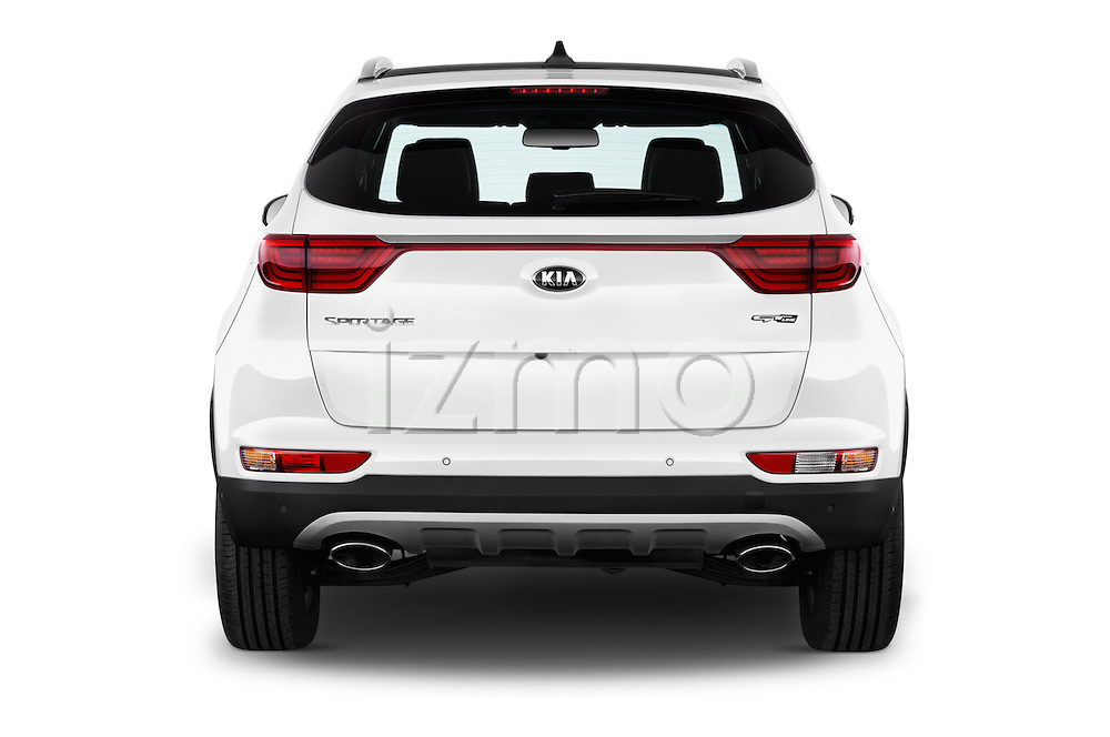 Straight rear view of 2016 KIA Sportage GT-Line 5 Door Suv Rear View  stock images