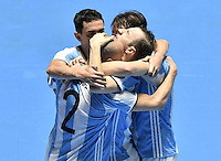 CALI -COLOMBIA-01-10-2016: Leandro Cruzzolino jugador de Argentina celebra después de anotar el tercer gol a Rusia durante partido por la final de la Copa Mundial de Futsal de la FIFA Colombia 2016 jugado en el Coliseo del Pueblo en Cali, Colombia. /  Leandro Cruzzolino player of Argentina celebrates after scoring a goal to Russia during match for the final of the FIFA Futsal World Cup Colombia 2016 played at Metropolitan Coliseo del Pueblo in Cali, Colombia. Photo: VizzorImage/ Gabriel Aponte / Staff