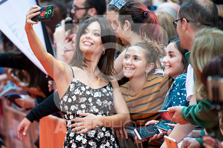 Actress Anna Castillo taking a selfie with a fan during orange carpet of 'Estoy Vivo' during FestVal in Vitoria, Spain. September 04, 2018. (ALTERPHOTOS/Borja B.Hojas)