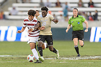 Houston, TX - Friday December 11, 2016: Amir Bashti (11) of the Stanford Cardinal and Ema Twumasi (22) of the Wake Forest Demon Deacons battle for control of the ball at the NCAA Men's Soccer Finals at BBVA Compass Stadium in Houston Texas.