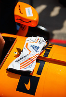 May 26, 2017; Indianapolis, IN, USA; Detailed view of the driving gloves of IndyCar Series driver Fernando Alonso during Carb Day for the 101st Running of the Indianapolis 500 at Indianapolis Motor Speedway. Mandatory Credit: Mark J. Rebilas-USA TODAY Sports