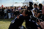 Stamford, Lincolnshire, United Kingdom, 8th September 2019, Pippa Funnell hugs photographer Libby Law after winning the 2019 Land Rover Burghley Horse Trials, Credit: Jonathan Clarke/JPC Images