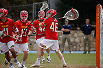 2017 March 25: Cameron Brosh #46 of Maryland Terrapins during a 15-7 win over the North Carolina Tar Heels at Fetzer Field in Chapel Hill, NC.