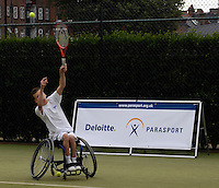 Queens Club, GREAT BRITAIN,   Wheel chair Tennis,  Andrew LAPTHORNE serves, before the  press Conference to announce the joint initiative between British Paralympic Association and Deloitte  of 'www.Parasport.org.uk' online information service, on Thur's.  03.05.2007. London. [Credit: Peter Spurrier/Intersport Images]