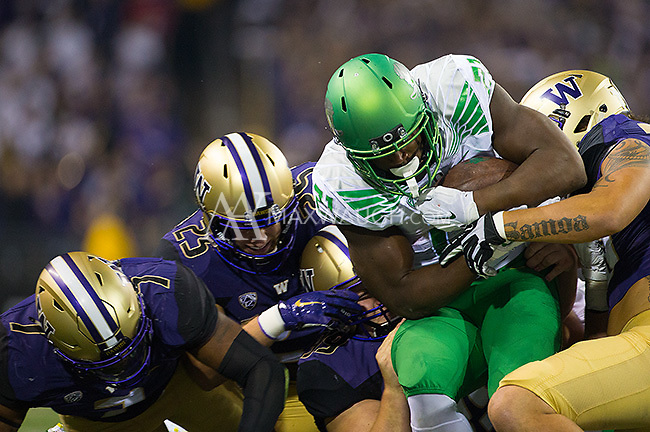 Royce Freeman was a load for the Husky defense all night.  Freeman finished with 138 yards on the ground.
