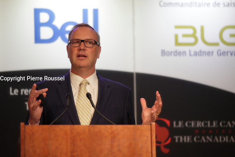 George Cope, President and CEO of BCE and Bell Canada, deliver a speech to the Canadian Club of Montreal on May 26, 2014.<br />