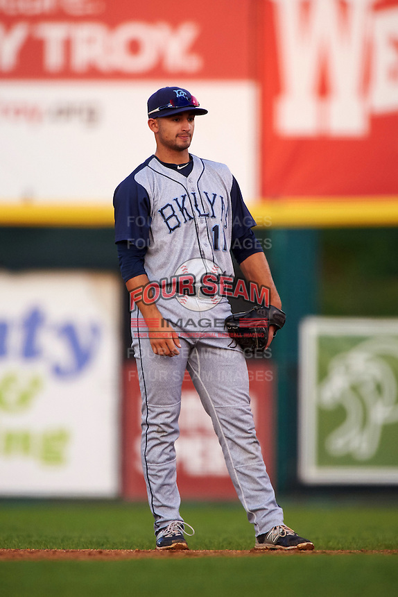 Brooklyn Cyclones second baseman Vincent Siena (11) during a game against the Tri-City ValleyCats on September 1, 2015 at Joseph L. Bruno Stadium in Troy, New York.  Tri-City defeated Brooklyn 5-4.  (Mike Janes/Four Seam Images)