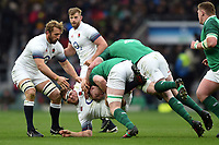 Dylan Hartley of England is double-tackled to ground. Natwest 6 Nations match between England and Ireland on March 17, 2018 at Twickenham Stadium in London, England. Photo by: Patrick Khachfe / Onside Images