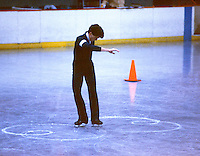 Brian Orser Canadian figure skater practices figures at the 1985 Canadian Championships in Moncton, Canada. Photo copyright Scott Grant.
