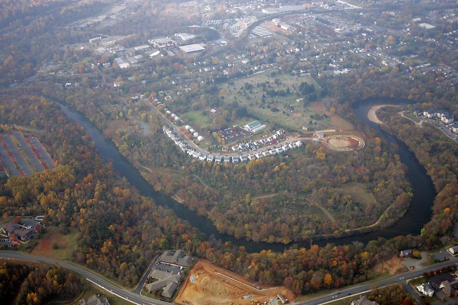 rivanna river, aerial, woolen mills