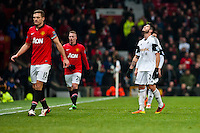 Saturday 11 January 2014 Pictured: Alejandro Pozuelo looks at the sky in fustration <br /> Re: Barclays Premier League Manchester Utd v Swansea City FC  at Old Trafford, Manchester