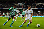 Eden Hazard of Real Madrid and Emerson Aparecido of Real Betis Balompie during La Liga match between Real Madrid and Real Betis Balompie at Santiago Bernabeu Stadium in Madrid, Spain. November 02, 2019. (ALTERPHOTOS/A. Perez Meca)