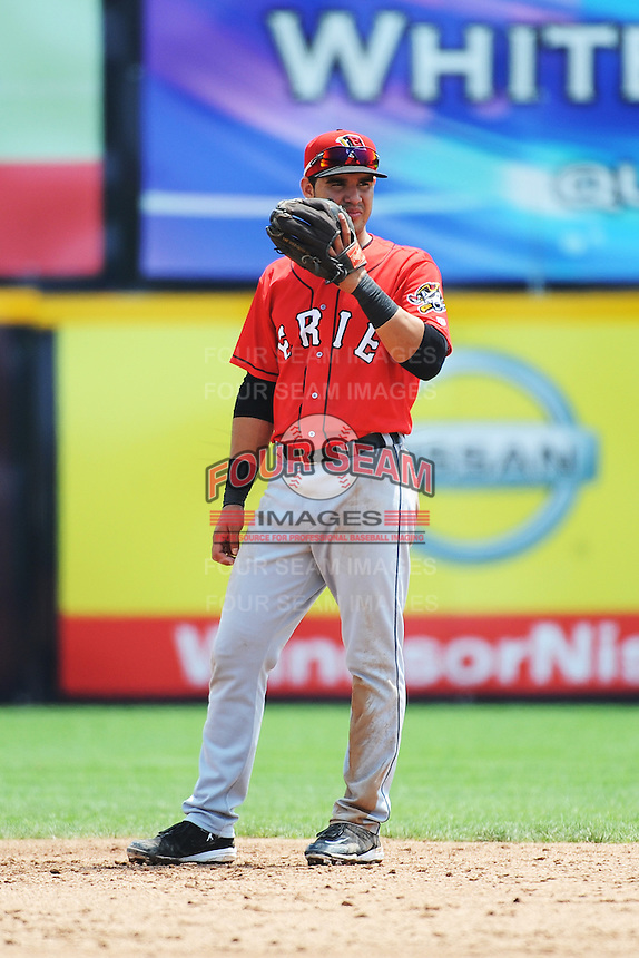 Erie SeaWolves infielder Eugenio Suarez (12) during game against the Trenton Thunder at ARM & HAMMER Park on May 29 2013 in Trenton, NJ.  Trenton defeated Erie 3-1.  Tomasso DeRosa/Four Seam Images