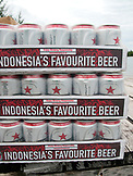 INDONESIA, Mentawai Islands, cases of Bintang beer, Sipora Island