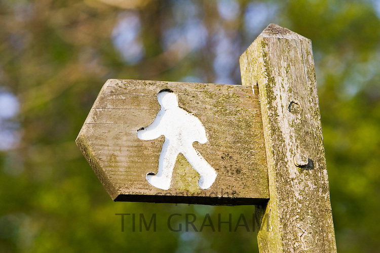 Footpath sign, Chedworth, Gloucestershire, United Kingdom