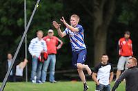 FIERLJEPPEN: GRIJPSKERK: Fierljepaccomodatie 'De Enk', 16-08-2014, ROC Friese Poort competitie 2014, Age Hulder, ©foto Martin de Jong