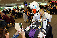 Cyril the Swan with supporters in the 1912 Lounge prior to the Sky Bet Championship match between Swansea City and Bristol City at the Liberty Stadium, Swansea, Wales, UK. Saturday 25 August 2018