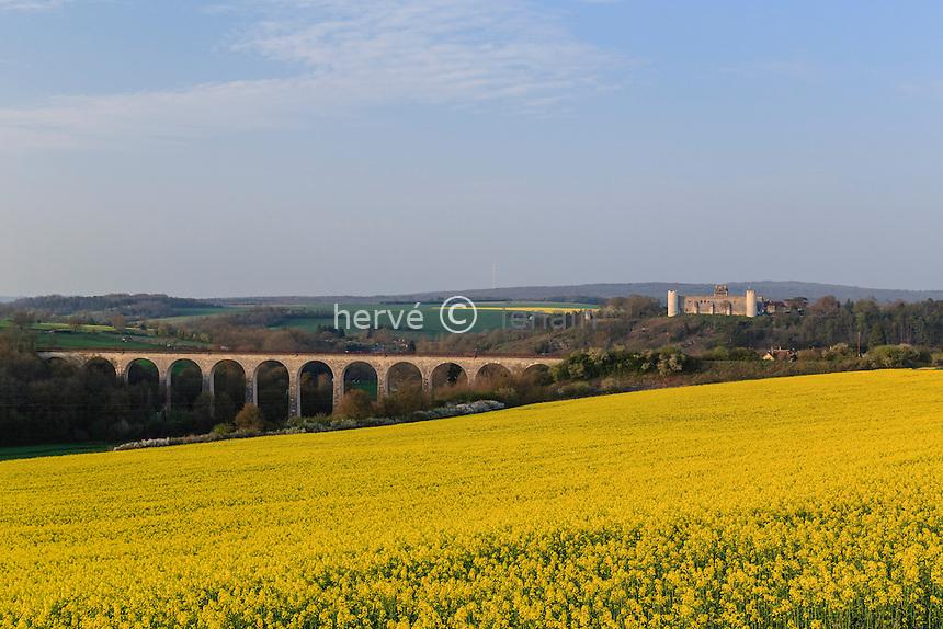 France, la Puisaye, Yonne (89), Druyes-les-Belles-Fontaines, le château et le viaduc // France, the Puisaye, Yonne, Druyes-les-Belles-Fontaines, The castle and the viaduct