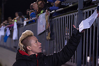 Boyds, MD - Saturday September 30, 2017: Joanna Lohman and fans during a regular season National Women's Soccer League (NWSL) match between the Washington Spirit and the Seattle Reign FC at Maureen Hendricks Field, Maryland SoccerPlex.