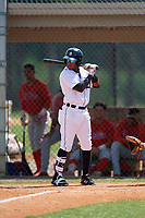 Detroit Tigers Yoneiry Acevedo (28) at bat during an Instructional League game against the Philadelphia Phillies on September 19, 2019 at Tigertown in Lakeland, Florida.  (Mike Janes/Four Seam Images)