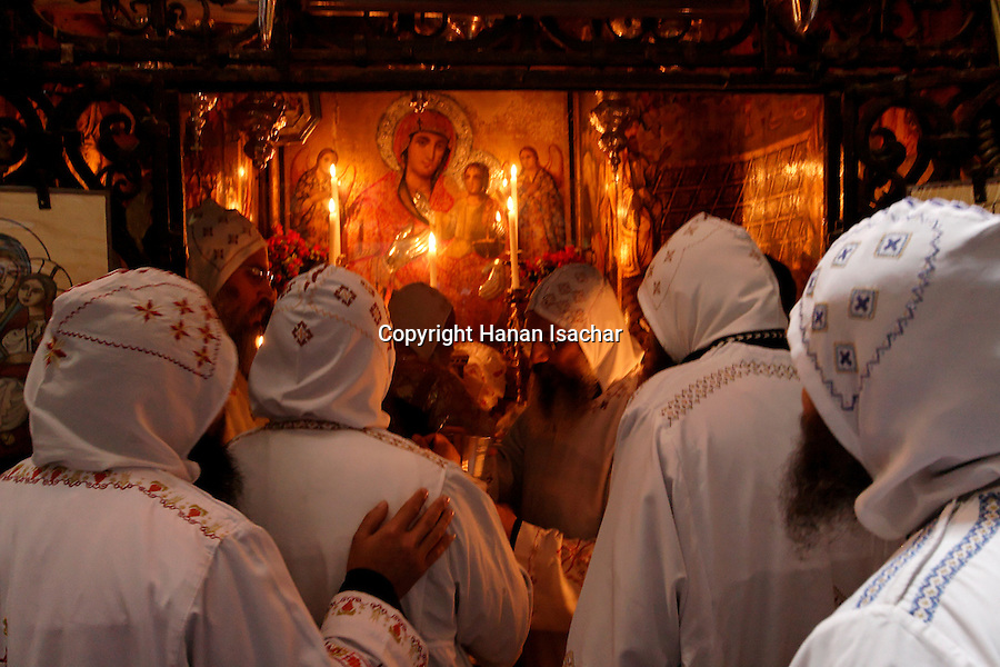 Israel, Jerusalem Old City, Palm Sunday ceremony at the Coptic Orthodox Chapel in the Church of the Holy Sepulchre, 2005<br />