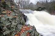 Wadley Falls during the autumn months which is located along the Lamprey River in Lee, New Hampshire USA