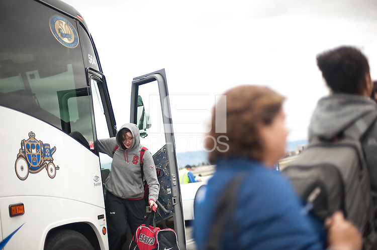 SAN JOSE, CA--Sarah Boothe leaves the bus at Atlantic Aviation in San Jose en route to Norfolk, VA for the first and second rounds of the 2012 NCAA tournament.