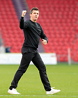 Fleetwood Town manager Joey Barton celebrates towards the travelling fans at the final whistle<br /> <br /> Photographer David Shipman/CameraSport<br /> <br /> The EFL Sky Bet League One - Doncaster Rovers v Fleetwood Town - Saturday 6th October 2018 - Keepmoat Stadium - Doncaster<br /> <br /> World Copyright © 2018 CameraSport. All rights reserved. 43 Linden Ave. Countesthorpe. Leicester. England. LE8 5PG - Tel: +44 (0) 116 277 4147 - admin@camerasport.com - www.camerasport.com