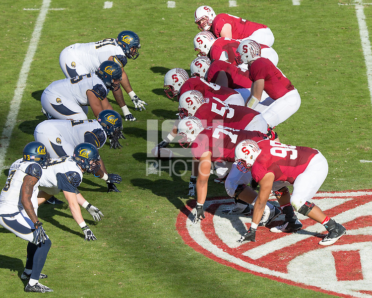 Stanford, CA -- November 23, 2013:  Stanford's O-Line during a game against Cal at Stanford Stadium. Stanford defeated Cal 63-13.