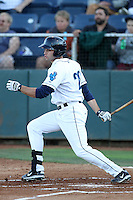 Everett Aquasox outfielder James Wood #28 bats against the Tri-City Dust Devils at Everett Memorial Stadium on August 12, 2011 in Everett,Washington. Tri-City defeated Everett 8-5.(Larry Goren/Four Seam Images)