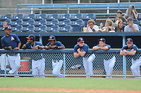 (L-R) Jose Gonzalez, Orlando Sandoval, Angelys Nina, Tyler Matzek, Paul Bargas and Tyler Massey during a game against the Greenville Drive at McCormick Field, Asheville, NC August 15, 2010. Greenville won the game 10-6.