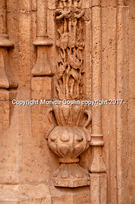 Detail of stone columns in the Orange Garden Courtyard of the 15th century mercantile exchange, La Lonja de la Seda; now a UNESCO site and a museum