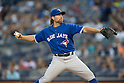 R.A. Dickey (Blue Jays),<br /> AUGUST 7, 2015 - MLB :<br /> R.A. Dickey of the Toronto Blue Jays pitches during the Major League Baseball game against the New York Yankees at Yankee Stadium in the Bronx, New York, United States. (Photo by Thomas Anderson/AFLO) (JAPANESE NEWSPAPER OUT)