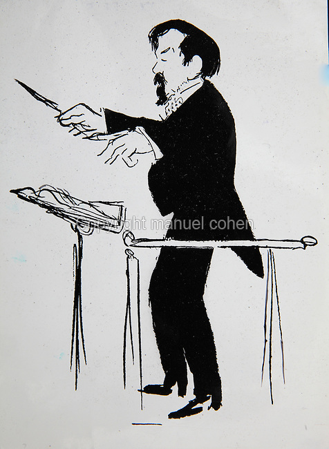 Caricature of Claude Debussy, 1862-1918, French composer, conducting an orchestra. Copyright © Collection Particuliere Tropmi / Manuel Cohen