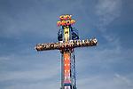 Sky Drop freefall gravity funfair ride Pleasure Beach, Great Yarmouth, Norfolk, England