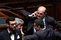 Il deputato Pierluigi Bersani al telefonino durante la seduta comune di deputati e senatori per l'elezione del nuovo Presidente della Repubblica, alla Camera dei Deputati, Roma, 29 gennaio 2015.<br /> Italian deputy Pierluigi Bersani uses his mobile phone during a joint plenary session of senators and deputies to vote for the election of the new President, at the Lower Chamber, Rome, 29 January 2015.<br /> UPDATE IMAGES PRESS/Riccardo De Luca