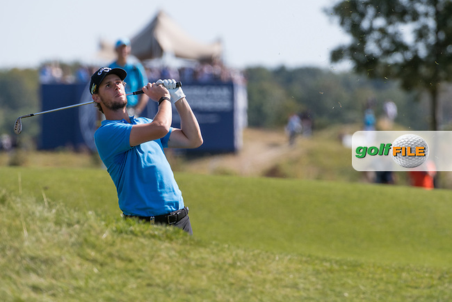Thomas Pieters (BEL) in action on the 9th hole during the 3rd round at the KLM Open, The International, Amsterdam, Badhoevedorp, Netherlands. 14/09/19.<br /> Picture Stefano Di Maria / Golffile.ie<br /> <br /> All photo usage must carry mandatory copyright credit (© Golffile | Stefano Di Maria)