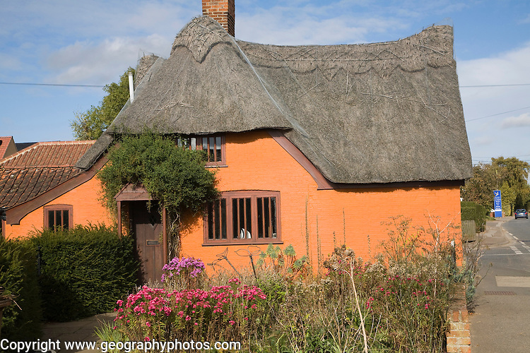 Orange coloured historic thatched building in Hollesley village, Suffolk, England