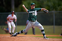 Michigan State Spartans relief pitcher Andrew Sabrosky (16) delivers a pitch during a game against the Illinois State Redbirds on March 8, 2016 at North Charlotte Regional Park in Port Charlotte, Florida.  Michigan State defeated Illinois State 15-0.  (Mike Janes/Four Seam Images)