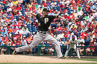 Pittsburgh Pirates starting pitcher AJ Burnett #34 delivers during the Major League Baseball game against the Philadelphia Phillies on June 28, 2012 at Citizens Bank Park in Philadelphia, Pennsylvania. The Pirates defeated the Phillies 5-4. (Andrew Woolley/Four Seam Images).