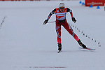 Ingvild Flugstad Oestberg competes during the 5 Km Individual Free race of Tour de ski as part of the FIS Cross Country Ski World Cup  in Dobbiaco, Toblach, on January 8, 2016. American Jessica Diggins wins the race, ahead of Norway's Heidi Weng and third place for actual leader Ingvild Flugstad Oestberg from Norway. Credit: Pierre Teyssot