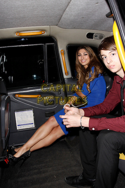 Luisa Zissman<br /> attend 'Jackass Presents - Bad Grandpa' Gala Screening at the Odeon Covent Garden, London, England.<br /> 9th October 2013<br /> full length blue dress sitting car side<br /> CAP/AH<br /> &copy;Adam Houghton/Capital Pictures