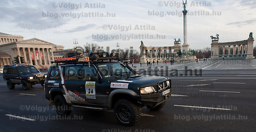 Competitors participate the start of Budapest-Bamako Rally charity race also called as the Wacky Race to Africa that starts in Budapest, Hungary on January 15, 2011. ATTILA VOLGYI