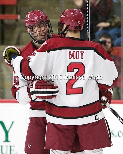 Brian Hart (Harvard - 39), Tyler Moy (Harvard - 2) - The Harvard University Crimson defeated the visiting Princeton University Tigers 5-0 on Harvard's senior night on Saturday, February 28, 2015, at Bright-Landry Hockey Center in Boston, Massachusetts.