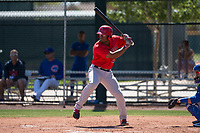 Los Angeles Angels right fielder Caleb Scires (52) at bat during an Extended Spring Training game against the Chicago Cubs at Sloan Park on April 14, 2018 in Mesa, Arizona. (Zachary Lucy/Four Seam Images)