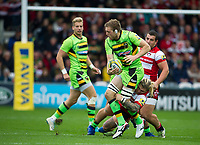 Northampton Saints' Jamie Gibson is tackled by Gloucester Rugby's Richard Hibbard <br /> <br /> Photographer Ashley Western/CameraSport<br /> <br /> Aviva Premiership - Gloucester v Northampton Saints - Saturday 7th October 2017 - Kingsholm Stadium - Gloucester<br /> <br /> World Copyright &copy; 2017 CameraSport. All rights reserved. 43 Linden Ave. Countesthorpe. Leicester. England. LE8 5PG - Tel: +44 (0) 116 277 4147 - admin@camerasport.com - www.camerasport.com